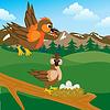 Sparrow auf Klinke mit Ei