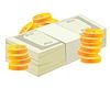 Packung von Geld und Münzen
