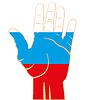 Flagge zu Russland auf der Palme