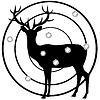 Silhouette der Hirsche auf Dartscheibe