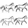 Set mit Konturen von Pferden