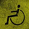 Parkplätze mit behinderten Zeichen auf Asphalt.