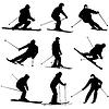 Set Gebirgsskifahrer Abhang hinunter zu beschleunigen. Sport