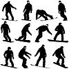 Set schwarze Silhouetten Snowboarder