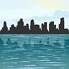 Stadt Kontur auf dem Meer
