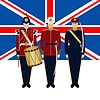 Flagge von Großbritannien und Soldaten in Uniform