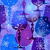 Weihnachten blau-violett nahtlose Muster