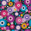 Seamless vivid floral checkered pattern