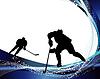 Silhouetten der Eishockeyspieler