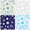 Set von nahtlosen Mustern mit Schneeflocken