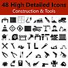 Baumaschinen und Werkzeuge Glatte Symbole