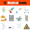 Flaches Design medizinische Icon-Set