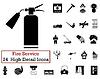 Set von 24 Feuerwehr-Symbol
