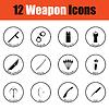 Set von zwölf Waffe Symbole