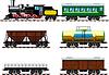 Alte Dampflokomotive mit Waggons