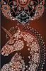 stilisierten Profil Einhorn Kopf, floral gefärbt