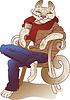 glücklich Kaffee Katze trinken sitzt auf dem Stuhl