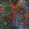 Blumenmuster auf farbigen schäbig Textur Hintergrund | Stock Illustration
