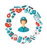Wohnung Symbol der Krankenschwester und medizinische Geräte und Objekte