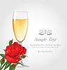 Postkarte mit einem Glas Champagner und Rose