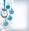 Neues Jahr Shiny Hintergrund mit Uhr und Glaskugeln