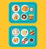 Kunststoffschalen mit Fast Food und Getränke