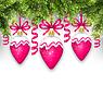Tannenzweigen und Weihnachtskugeln Rosa