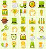 Modern Flat Design Icons für St. Patrick`s Day,