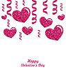 Rahmen aus rosa Herzen mit Glitter Hintergrund