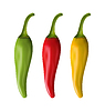 Set bunte Chili Peppers