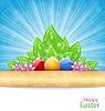 Ostern Hintergrund mit Eiern, Blätter, Blüten