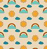 Alte nahtlose Muster mit Wetter-Symbole