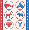 Vintage Art von Knopf für Vote oder Voting