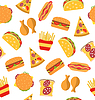 Seamless Pattern with Set Fast Food Flat Icons | Stock Vector Graphics