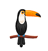 Funny Toucan Sitting on Branch, Exotic Bird   Stock Vector Graphics