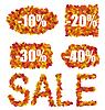 Set Autumn Sale gemacht Rabatte in bunten Blättern
