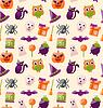 Halloween Nahtlose Muster mit bunten flache Ikonen