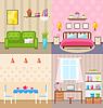 Set Zimmer Innenräume mit Möbel Wohnung Icons