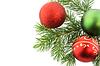 Weihnachtes-Zweig der Tanne mit Kugeln | Stock Foto