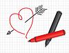 Vektor Cliparts: Gezeichnet Herz und Marker