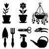 Set von Topfpflanzen und Werkzeuge für ihre Pflege