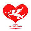 Valentinsgrußtageskarte mit Amor in rotes Herz