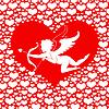 Valentines-Karte mit Amur im Herzen auf rotem Hintergrund