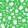 Gartenwerkzeuge Muster nahtlos auf grünem Hintergrund