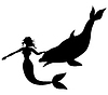 Silhouette der Meerjungfrau und Delphin