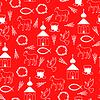 Ostern orthodoxe Muster nahtlos auf rotem Hintergrund