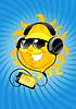 Cartoon-Sonne mit Kopfhörer
