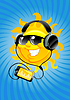 Słońce kreskówki z słuchawek | Stock Vector Graphics