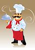 Шеф-повар и пластины | Векторный клипарт