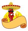 멕시코 핫 칠리 라벨 | Stock Vector Graphics